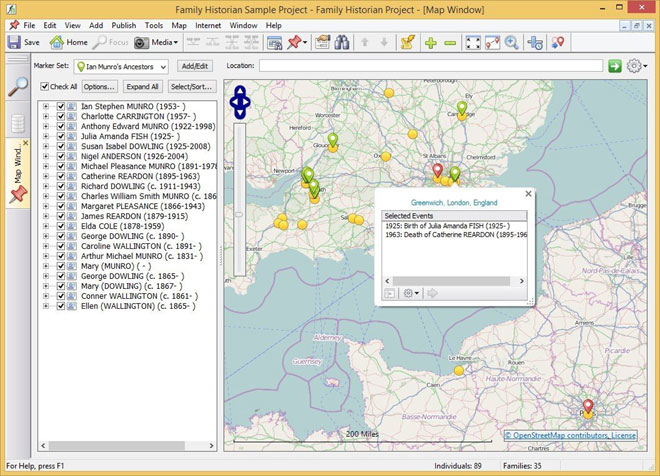 Family Historian 6 Map
