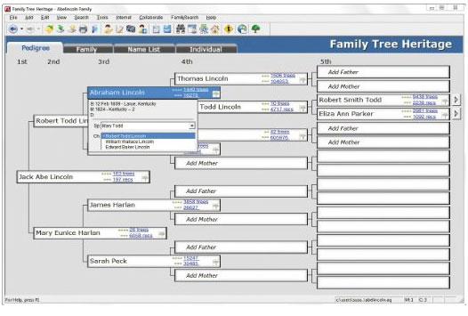 Family Tree Heritage 9 Interface