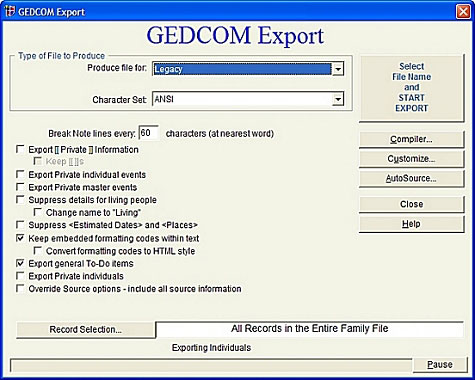 Legacy 8 Export GEDCOM Files