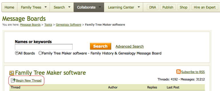 Ancestry Message Boards