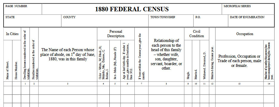1880 Census Records Blank Form