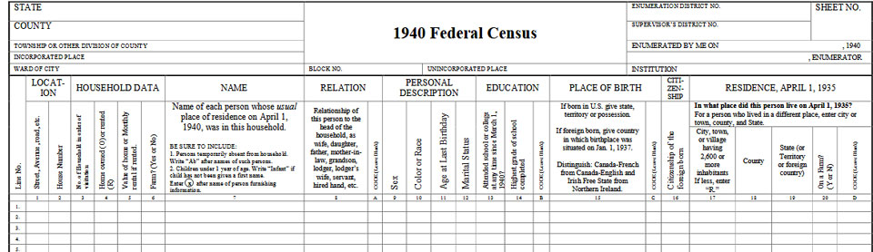 1940 Census Records Blank Form