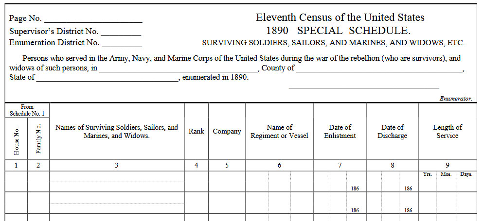 1890 Census Records Blank Form
