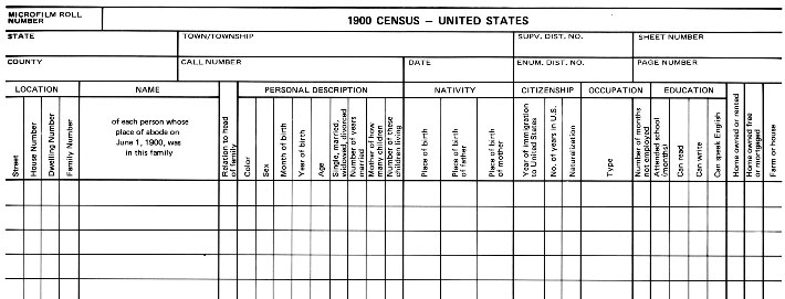 1900 Census Records Blank Form