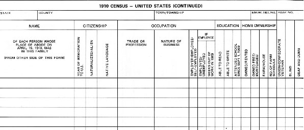1910 Census Records Blank Form