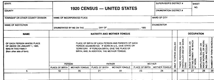 1920 Census Records Blank Form