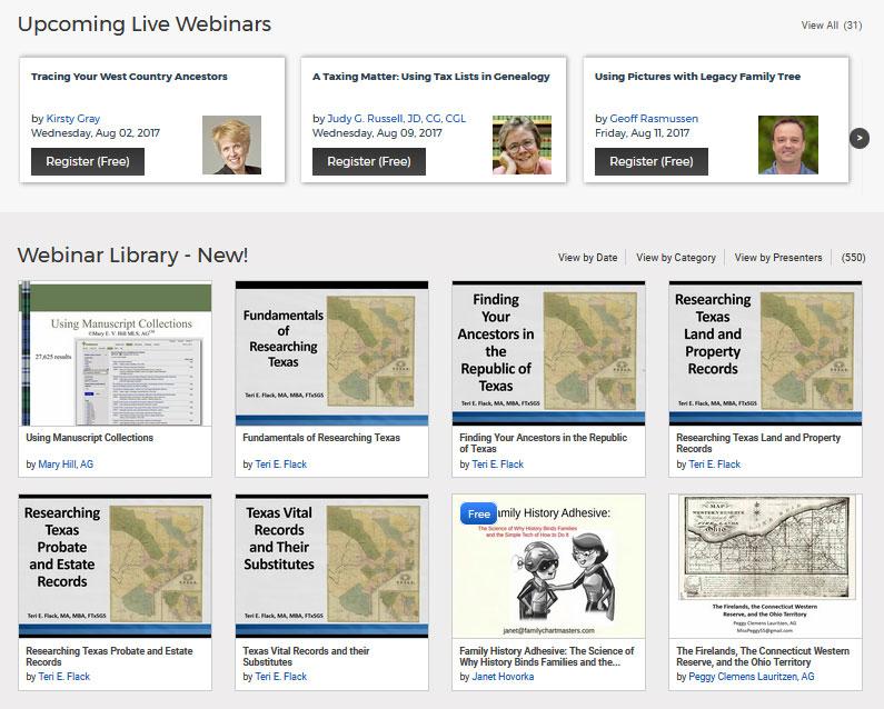 Legacy Family Tree Webinars - The Webinars