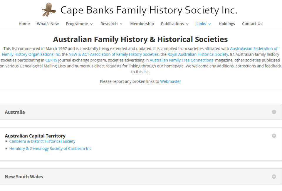 Cape Banks Family History Society ACT Search
