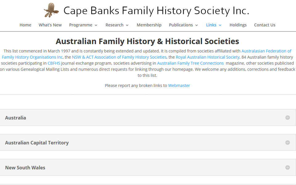 Cape Banks Family History Society