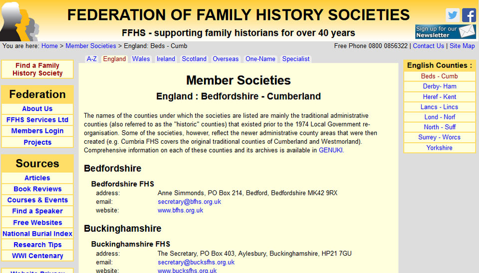 Federation of Family History Societies - County Search