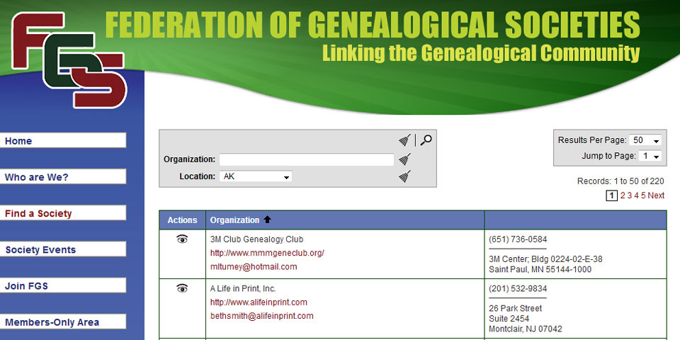 The Federation of Genealogical Societies