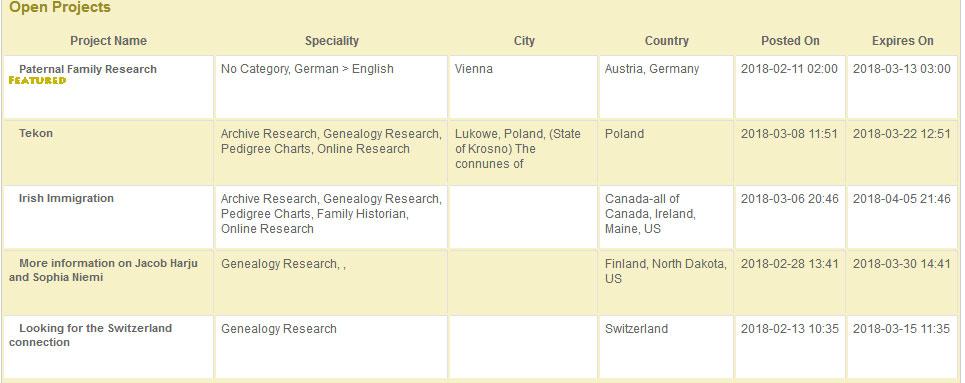Genealogy Freelancers - Set Up a Project